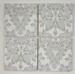 4 Ceramic Coasters in Laura Ashley Christmas Silver Damask